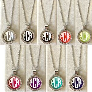 Custom Made Interchangeable Monogram Necklace Jewelry Gold Silver Preppy Round